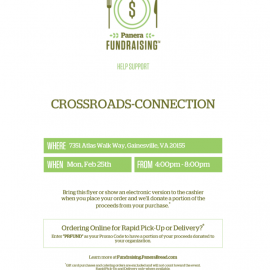 Crossroads-Connection Dine Out Fundraiser February 25, 2019
