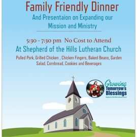Dinner: Expanding Our Mission & Ministry Presentation June 1, 2019 at 5:30 pm