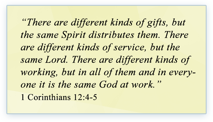 """""""There are different kinds of gifts, but the same Spirit distributes them. There are different kinds of service, but the same Lord. There are different kinds of working, but in all of them and in everyone it is the same God at work."""" 1 Corinthians 12:4-5"""
